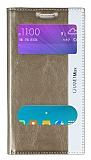 Eiroo Samsung Galaxy Grand Max Gizli Mıknatıslı Çift Pencereli Gold Deri Kılıf