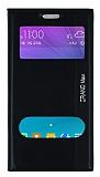 Eiroo Samsung Galaxy Grand Max Gizli Mıknatıslı Çift Pencereli Siyah Deri Kılıf