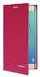 Eiroo Samsung Galaxy S6 Edge Plus Gizli Mıknatıslı Yan Kapaklı Pembe Deri Kılıf