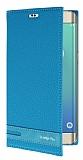 Eiroo Samsung Galaxy S6 Edge Plus Gizli Mıknatıslı Yan Kapaklı Mavi Deri Kılıf