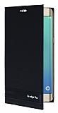 Samsung Galaxy S6 Edge Plus Gizli Mıknatıslı Yan Kapaklı Siyah Deri Kılıf