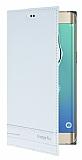 Samsung Galaxy S6 Edge Plus Gizli Mıknatıslı Yan Kapaklı Beyaz Deri Kılıf