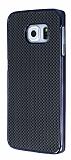 Eiroo Samsung Galaxy S6 Edge Siyah Metal Kenarl� Siyah Rubber K�l�f