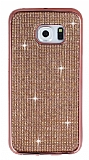 Eiroo Samsung Galaxy S6 Edge Taşlı Rose Gold Silikon Kılıf