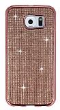 Eiroo Samsung Galaxy S6 Taşlı Rose Gold Silikon Kılıf