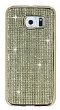 Eiroo Samsung Galaxy S6 Taşlı Gold Silikon Kılıf