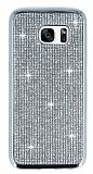 Eiroo Samsung Galaxy S7 Edge Taşlı Silver Silikon Kılıf