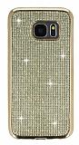 Eiroo Samsung Galaxy S7 Taşlı Gold Silikon Kılıf
