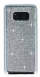 Eiroo Samsung Galaxy S8 Plus Taşlı Silver Silikon Kılıf