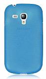 Samsung i8190 Galaxy S3 mini Ultra İnce Şeffaf Mavi Silikon Kılıf