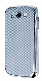 Eiroo Samsung Galaxy Grand Duos Silver Metal Kenarl� Gri Rubber K�l�f