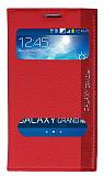 Eiroo Samsung i9082 Galaxy Grand / i9060 Grand Neo Gizli M�knat�sl� �ift Pencereli K�rm�z� Deri K�l�f