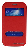 Eiroo Samsung Galaxy Grand Vantuzlu Çift Pencereli Kırmızı Deri Kılıf