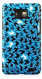 Eiroo Samsung i9100 Galaxy S2 �ekilli Sert Parlak Mavi Rubber K�l�f
