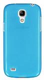 Samsung i9190 Galaxy S4 mini Ultra İnce Şeffaf Mavi Silikon Kılıf