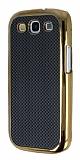 Eiroo Samsung i9300 Galaxy S3 Gold Metal Kenarl� Siyah Rubber K�l�f