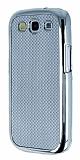 Eiroo Samsung i9300 Galaxy S3 Silver Metal Kenarl� Gri Rubber K�l�f