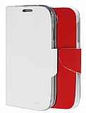 Eiroo Samsung i9500 Galaxy S4 �ift Renk Kapakl� Beyaz ve K�rm�z� Deri K�l�f