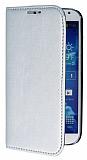 Eiroo Samsung i9500 Galaxy S4 Gizli M�knat�sl� Standl� Silver Deri K�l�f