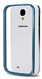 Eiroo Samsung i9500 Galaxy S4 Gold �izgili Bumper �er�eve Mavi K�l�f