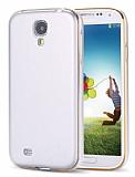 Eiroo Samsung i9500 Galaxy S4 Metal Kenarl� Beyaz Rubber K�l�f