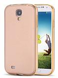 Eiroo Samsung i9500 Galaxy S4 Metal Kenarl� Gold Rubber K�l�f