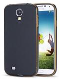 Eiroo Samsung i9500 Galaxy S4 Metal Kenarlı Siyah Rubber Kılıf