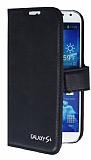 Eiroo Samsung i9500 Galaxy S4 Standl� C�zdanl� Siyah Deri K�l�f