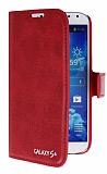 Eiroo Samsung i9500 Galaxy S4 Standlı Cüzdanlı Kırmızı Deri Kılıf