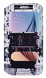 Eiroo Samsung i9800 Galaxy S6 Gizli Mıknatıslı Pencereli Taksim Deri Kılıf