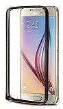 Eiroo Samsung i9800 Galaxy S6 Gold Çizgili Metal Bumper Çerçeve Siyah Kılıf