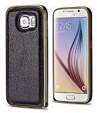 Eiroo Samsung i9800 Galaxy S6 Metal Kenarlı Siyah Deri Kılıf