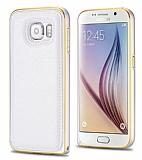 Eiroo Samsung i9800 Galaxy S6 Metal Kenarlı Beyaz Deri Kılıf