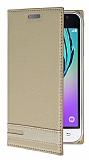 Eiroo Samsung J1 2016 Gizli Mıknatıslı Yan Kapaklı Gold Deri Kılıf
