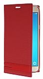 Eiroo Samsung J5 2016 Gizli Mıknatıslı Yan Kapaklı Kırmızı Deri Kılıf