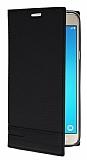 Samsung J7 2016 Gizli Mıknatıslı Yan Kapaklı Siyah Deri Kılıf