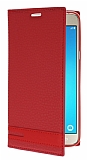 Samsung J7 2016 Gizli Mıknatıslı Yan Kapaklı Kırmızı Deri Kılıf