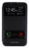 Eiroo Samsung N7000 Galaxy Note Vantuzlu �ift Pencereli Siyah Deri K�l�f