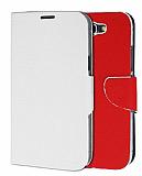 Eiroo Samsung N7100 Galaxy Note 2 �ift Renk Kapakl� Beyaz ve K�rm�z� Deri K�l�f