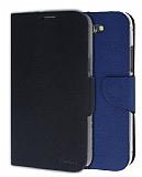 Eiroo Samsung N7100 Galaxy Note 2 �ift Renk Kapakl� Siyah ve Lacivert Deri K�l�f