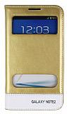 Eiroo Samsung N7100 Galaxy Note 2 Gizli M�knat�sl� �ift Pencereli Gold Deri K�l�f