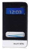 Eiroo Samsung N7100 Galaxy Note 2 Gizli M�knat�sl� �ift Pencereli Siyah Deri K�l�f