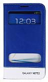 Eiroo Samsung N7100 Galaxy Note 2 Gizli M�knat�sl� �ift Pencereli Mavi Deri K�l�f