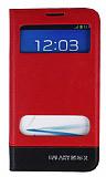 Eiroo Samsung N7100 Galaxy Note 2 Gizli M�knat�sl� �ift Pencereli K�rm�z� Deri K�l�f