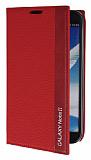 Eiroo Samsung N7100 Galaxy Note 2 Gizli M�knat�sl� �nce Yan Kapakl� K�rm�z� Deri K�l�f
