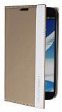 Eiroo Samsung N7100 Galaxy Note 2 Gizli M�knat�sl� �nce Yan Kapakl� Gold Deri K�l�f