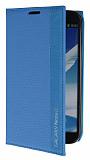 Eiroo Samsung N7100 Galaxy Note 2 Gizli M�knat�sl� �nce Yan Kapakl� Mavi Deri K�l�f