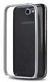 Eiroo Samsung N7100 Galaxy Note 2 Gold �izgili Metal Bumper �er�eve Silver K�l�f