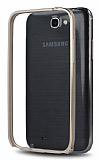 Eiroo Samsung N7100 Galaxy Note 2 Gold �izgili Metal Bumper �er�eve Gold K�l�f