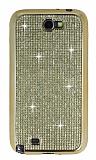 Eiroo Samsung N7100 Galaxy Note 2 Taşlı Gold Silikon Kılıf